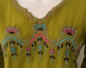 Vintage India Lime Embroidered Cotton Linen Tunic Blouse