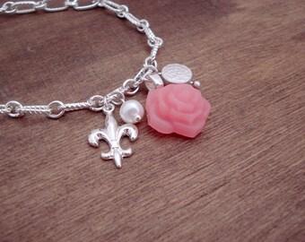 ON SALE Silver Charm Bracelet - Pink Rose - Lis - Lys - Pearl - Bracelet Argent Breloques