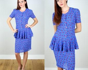 Vintage 1980s British Peplum Secretary Dress