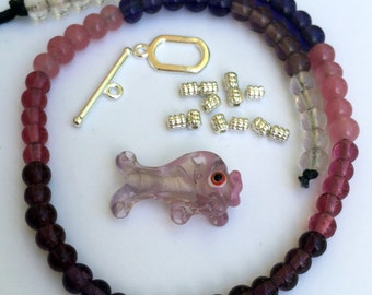 Glass Fish and Shades of Pink, Purple and Lavendar Glass rounds 6mm Beads of Plenty Kit™