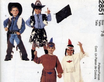 Children's Boys' and Girls' Cowboys Cowgirls and Indians Costume Sewing Pattern - McCall's 2851 - Size 7 - 8
