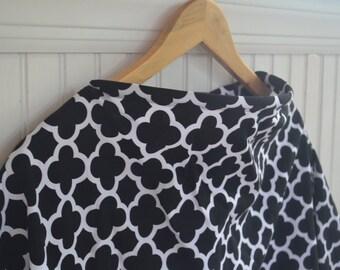 Nursing Cover - Black and White Quatrefoil - Breastfeeding Cover, Baby Shower Gift, New Mom Gift
