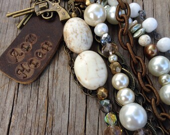 Aim High- gypsy country boho layered long statement necklace cowgirl western jewelry white turquoise joellie pistol junk repurposed chic