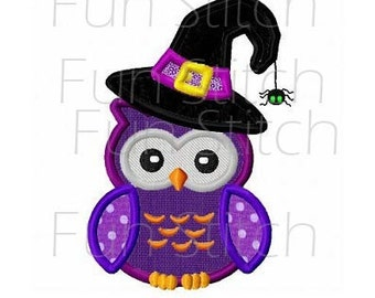 Halloween witch owl applique machine embroidery design