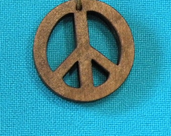 Wood Peace Sign Pendant