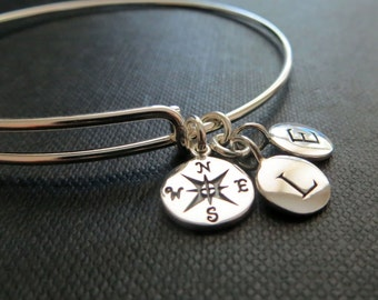 Compass initial bracelet, best friends going away gift, Personalized bangle, expandable, sterling silver Celebrity style, bff