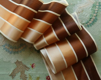 "Antique silk corded satin ribbon trim stripe brown 33x3 5/8"" wide hat ribbonwork flapper cloche millinery hat trim edwardian flapper"