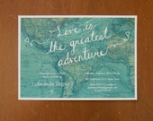 Love is the greatest adventure digital bridal shower invitations map travel