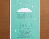 Umbrella hearts digital bridal shower invitations with custom typography