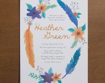 Feather bohemian digital bridal shower invitations watercolor floral purple orange blue
