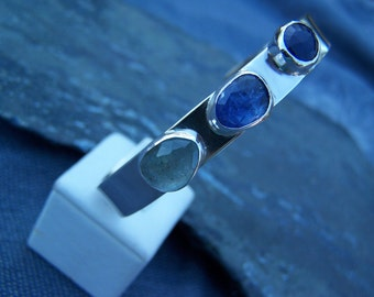 Three Stone Sterling Silver Cuff; MADE TO ORDER