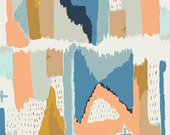 Dusty Blue Peach Gold and Cream Abstract Geometric Cotton Fabric, Bound By April Rhodes for Art Gallery Fabrics, Painting in Morale, 1 yard
