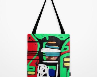 Pop Art Tote Bag Modern Abstract Red Green Black Unique Purse iPhonography