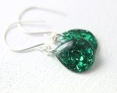 green tinsel teardrop earrings on sterling silver earwires, 1.25 inches long, green drop earrings, glitter earring - SMALL SIZE
