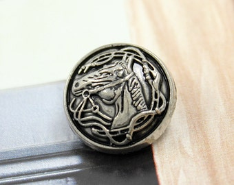 Metal Buttons - Horsehead Metal Buttons , Retro Silver Color , Shank , 0.79 inch , 10 pcs