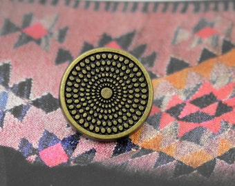 Metal Buttons - Concentric Dots Metal Buttons , Antique Brass Color , Shank , 0.55 inch , 10 pcs