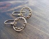 Bronze Hoop Earrings with Bronze Dots - Brozne Drop Earrings, Simple Earrings, Dangle Earrings,