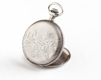 Sale - Antique Victorian 900 Silver Hunter Pocket Watch Case - Vintage Men's Etched & Shield Motif Coin Silver Jewelry Fashion Accessory