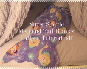 Super Simple Mermaid Tail Blanket Pattern and Tutorial, pdf, Instant Download, Snuggle Up