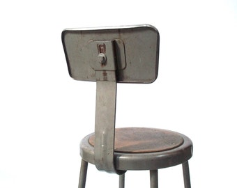 Vintage Industrial Painted Tall Metal Task Stool / Drafting Stool / Shop Stool / Bar Stool / Desk Stool / Worn Distressed