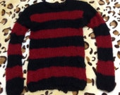 mohair sweater by camdenlock clothing punk rock black and red stripe hand knitting