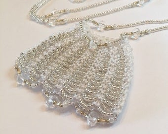 Bright Silver Beaded Amulet Bag Necklace
