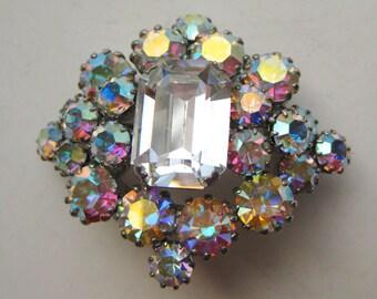 Vintage 50s Aurora Borealis Jeweled Rhinestone Silver Brooch Pin