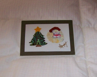 """Real Butterfly Wings  Framed """" Christmas Tree and Santa Claus Face"""" Collage"""