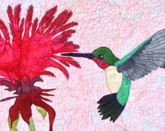 pattern tutorial for hummingbird art quilt