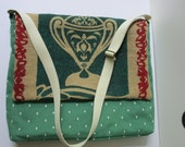 Messenger Laptop Bag Upcycled from Pakistani Rice Sack Handmade with FREE USA SHIPPING