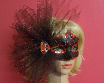 Black Glitter Masquerade Mask,Red Party Mask, Tulle Fan Black Mask With Crystals, Masquerade Mask