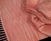 Salmon Pink Scarf, Intricate Handweaving by Loom On The Lake