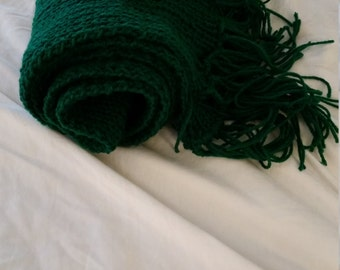 Hand knitted emerald green scarf