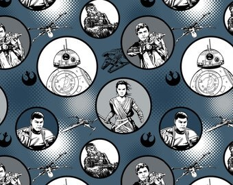 Star Wars The Force Awakens Badges Midnight #105-1 Quilt Fabric by the 1/2 yard