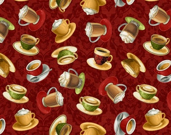 Coffee Moments Small Coffee Mugs on Red Quilt Fabric by the 1/2 yd