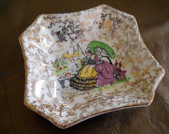 Vintage 1903s Empire England Gilt China Trinket Dish 17th Century Lady Design