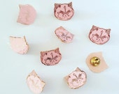 kitty lapel pin - hard enamel cat badge - copper rose gold - pink