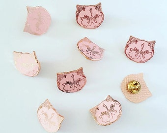 kitty lapel pin - hard enamel cat badge - copper rose gold - pink