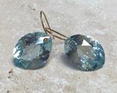 14k gold filled sky blue topaz earrings- 30.20 carats