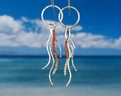 Jellyfish hoops ocean creature squiggles fine silver carnelian earrings