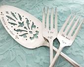 Personalized cake server & forks vintage set... Love birds for your wedding, hand stamped. Choose your set