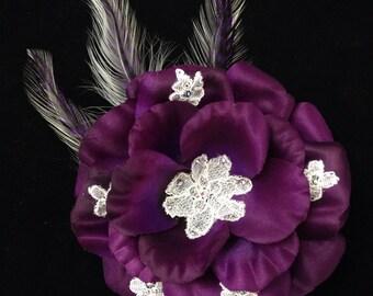 Elegant Plum Bridal Rose Fascinator AB Rhinestones Handcut Lace Bridal Head Piece Wedding Hair Piece Wedding Fascinator OOAK Ready to Ship