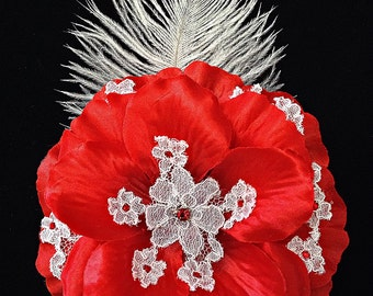 Elegant Bridal Red Rose Fascinator Red Rhinestones on White Lace Red Bridal Hair Piece Blinged Lace Wedding Fascinator Ready to Ship