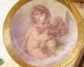Beautiful Limoges Made In Italy Porcelain Precious Child Angels Artist Renditon Decorative