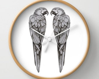 NZFINCH Parrot love birds wall clock, tropical