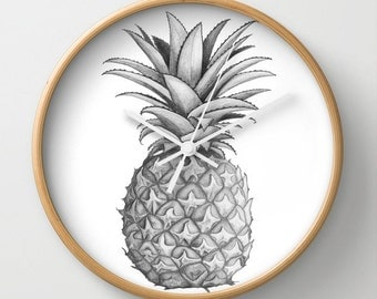 NZFINCH Pineapple wall clock, tropical