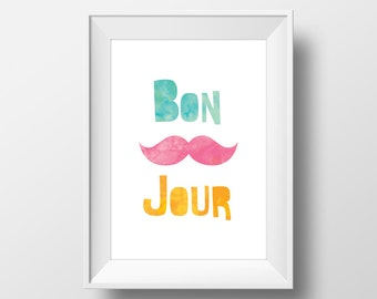 Bon Jour French Greeting Quote Modern Kid Printable Wall Art