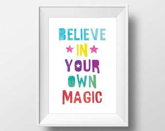 Believe In Your Own Magic Quote Modern Kid Printable Wall Art