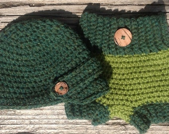 Baby Newsboy Crochet Hat and Diaper Cover, Two Tone, Forest Green, Avacado, Green,  Baby Hat, Newborn Diaper Cover, Newborn Crochet Hat