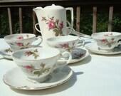Vintage Moss Rose Tea Set with Pot 4 Cups Saucers Vintage Porcelein Vintage Porcelain Tea Set Electric Water Tea Chocolate Warmer Gilt Trim